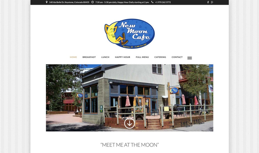 New Moon Cafe, Keystone, Colorado, Web Design